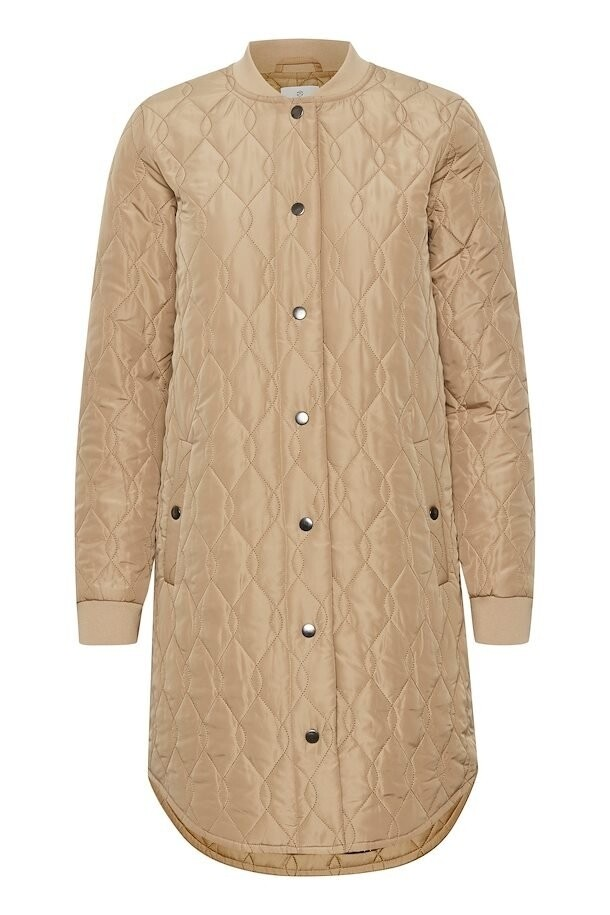 Kashally Tan Long Quilted Coat