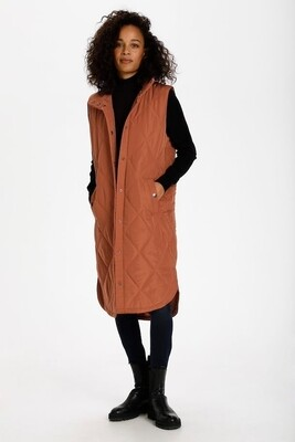 Kameria Rust Long Quilted Gilet