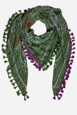 Green Printed Scarf With Purple Tassel