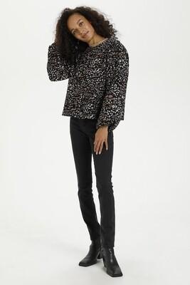 Kaerina Black Animal Print Quilted Jacket