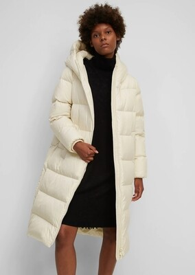 Cream Quilted Long Sleeve Coat