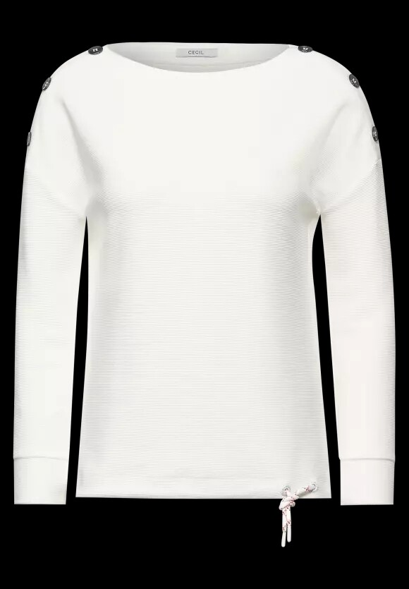 Off White ribbed Top With Button Neck Detail