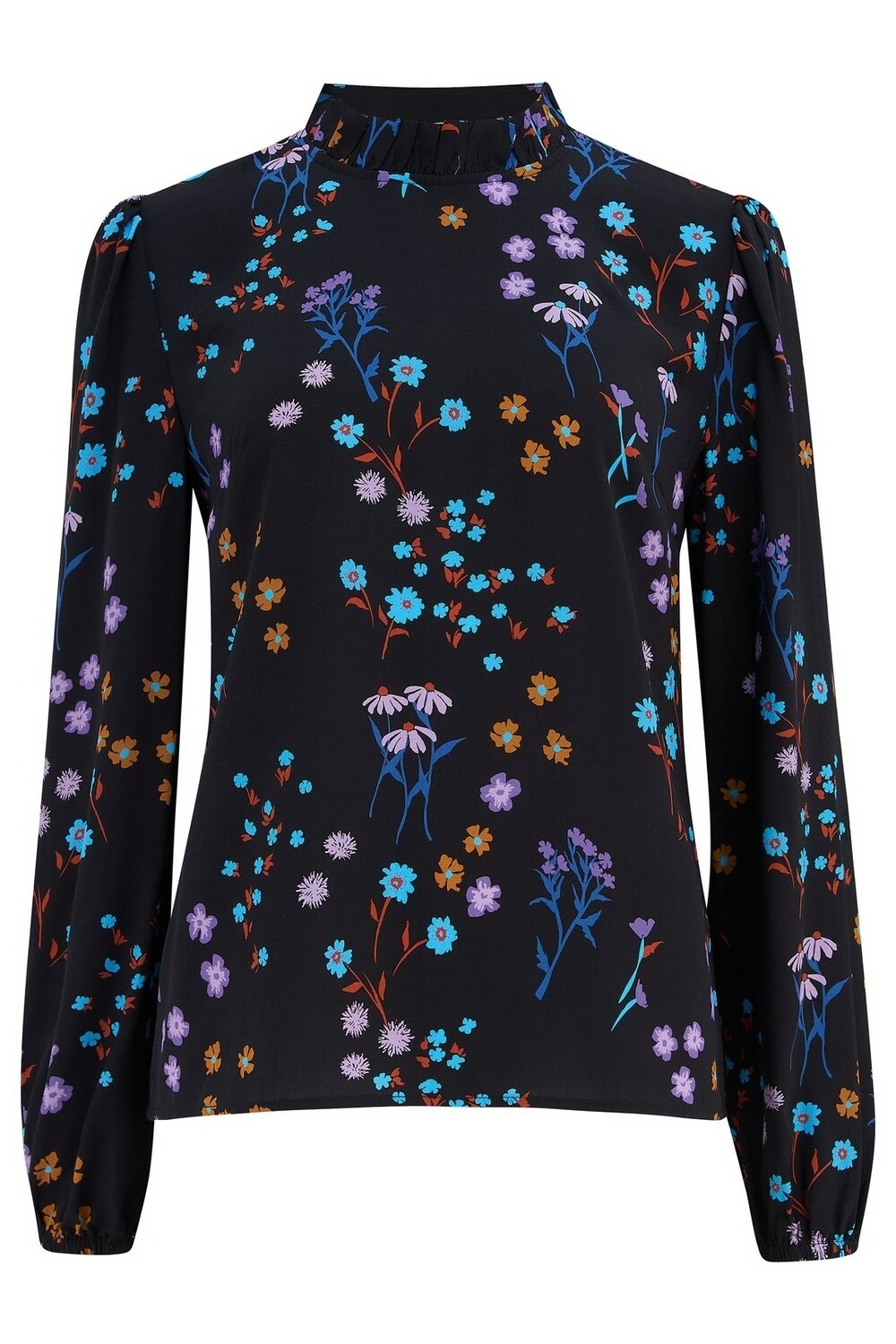Maybell Black Floral Frill Neck Blouse