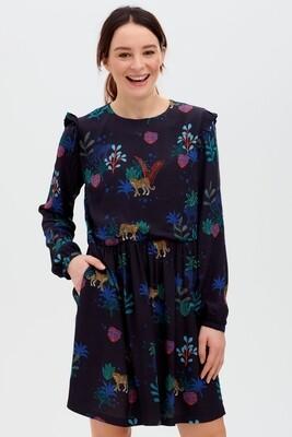 Kirsten Black Night Leopard Smock Dress