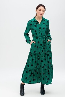 Sariah Green Floral Tiered Shirt Dress