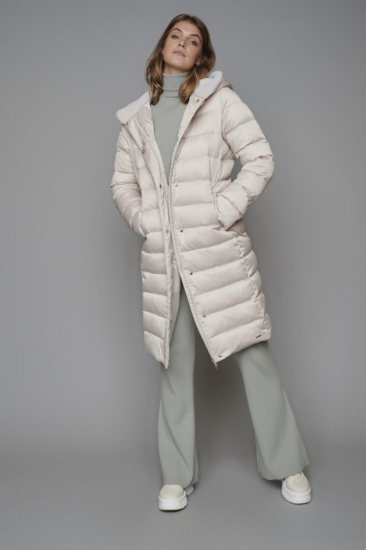 Gaga Sand Padded Coat With Fur Hood