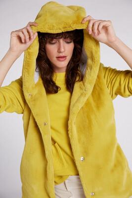 Faux Fur Waistcoat In Warm Olive