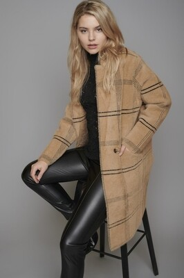 Madina Checked Tan Knitted Coat