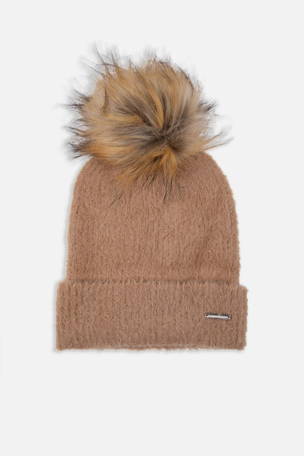 Tan Knitted Beanie With Faux Fur Pompon