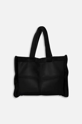 Black Vegan Leather And Faux Fur Bag