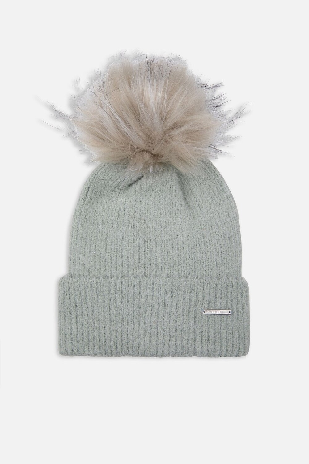 Sage Knitted Beanie With Faux Fur Pompon
