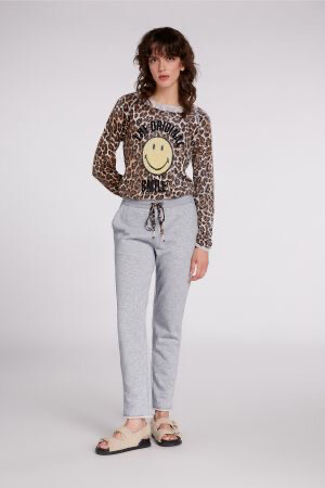 Grey Joggers With Leopard Detail