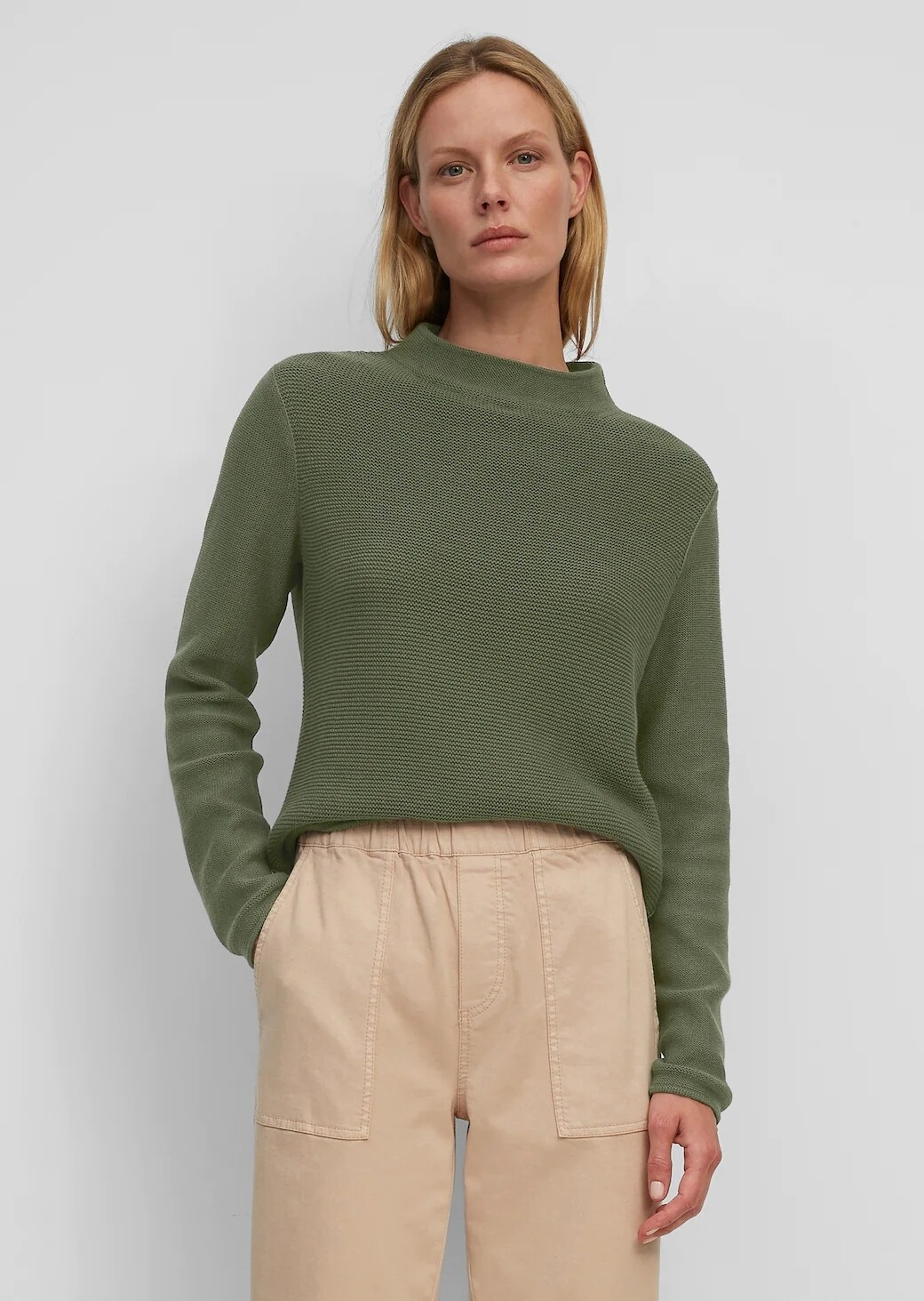 Fresh Moss Long Sleeve Cotton Knit