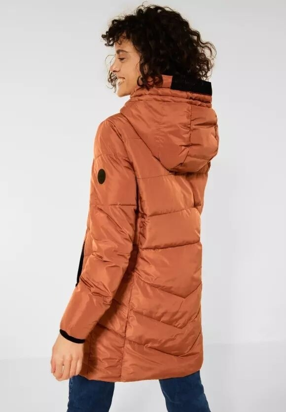 Rust Quilted Puffer Coat