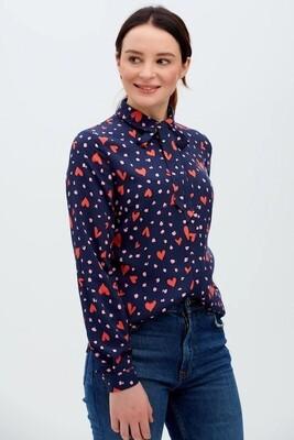 Catrina Navy Heart Leopard Shirt