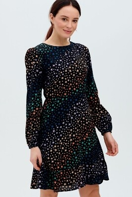 Juliette Black Star Wave Fit & Flare Dress