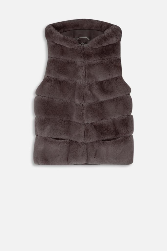 Denise Faux Fur And Vegan Leather Waistcoat