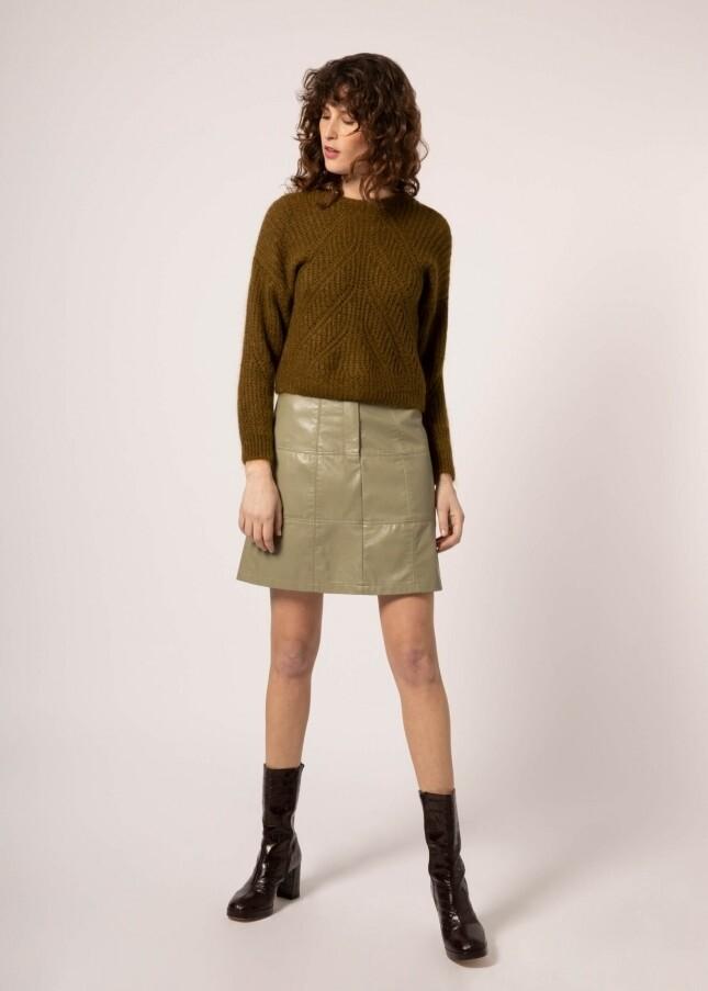 Etienne Sage Leather Skirt