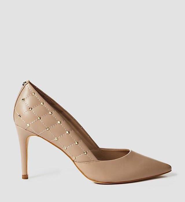 Brinn Beige Leather Court Shoe Studs