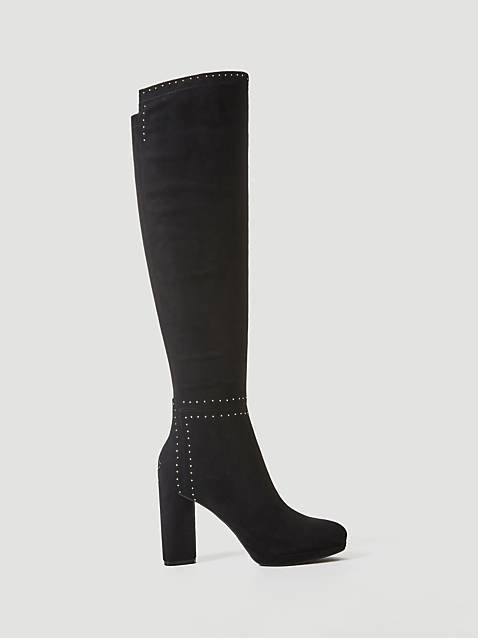 Porsia Long Boot Suede With Micro Studs