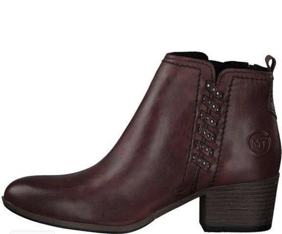 Wine Ankle Boot Wooden Heel Detail
