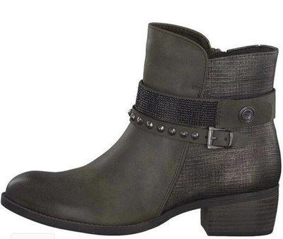 Khaki Ankle Boot Stud Detail