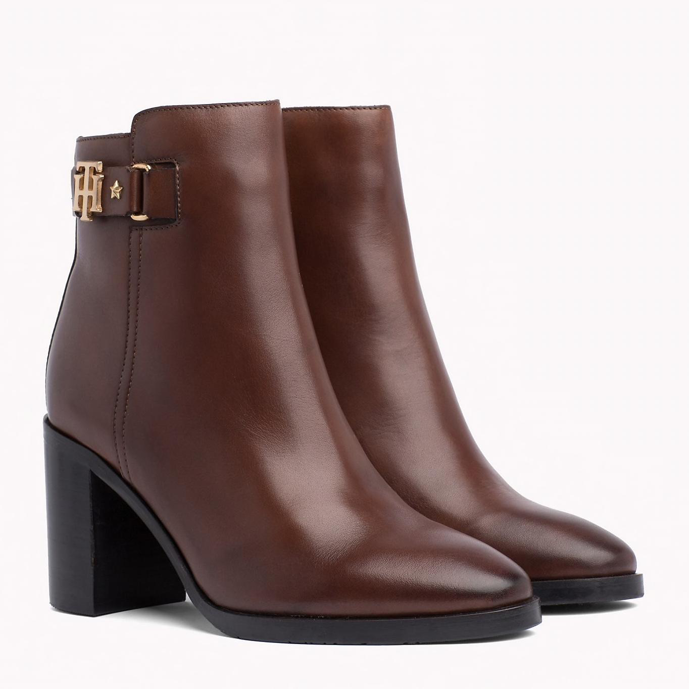 Tommy Hilfiger Buckle Heeled Boot Coffee