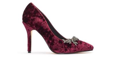 Mediis Plum Velvet Suede Court Shoe