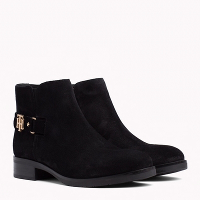 Tommy Hilfiger Buckled Suede Boot Black
