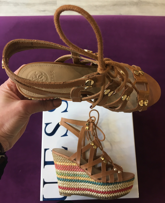 Tan Leather Wedge Sandal