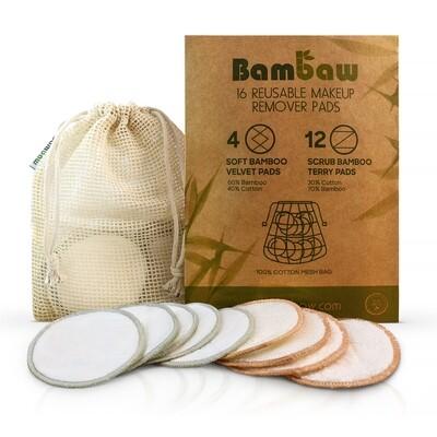 Abschminkpads Waschbar [16er Set] für die hautschonende Reinigung - Nachhaltige Abschminktücher & Make Up Remover + kostenloses Wäschenetz