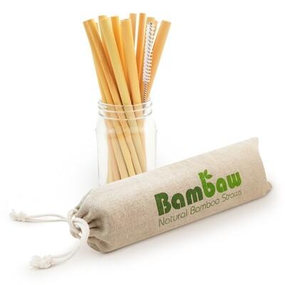12 Stück Bambus Strohhalme Wiederverwendbar (14 cm oder 22 cm)