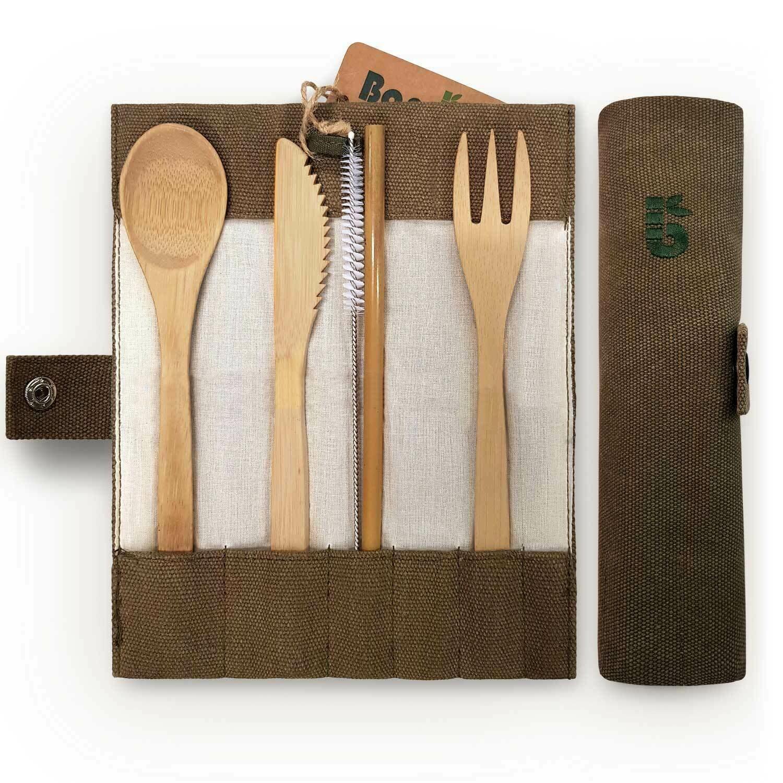 Umweltfreundliches Besteck Set aus Bambus Olive