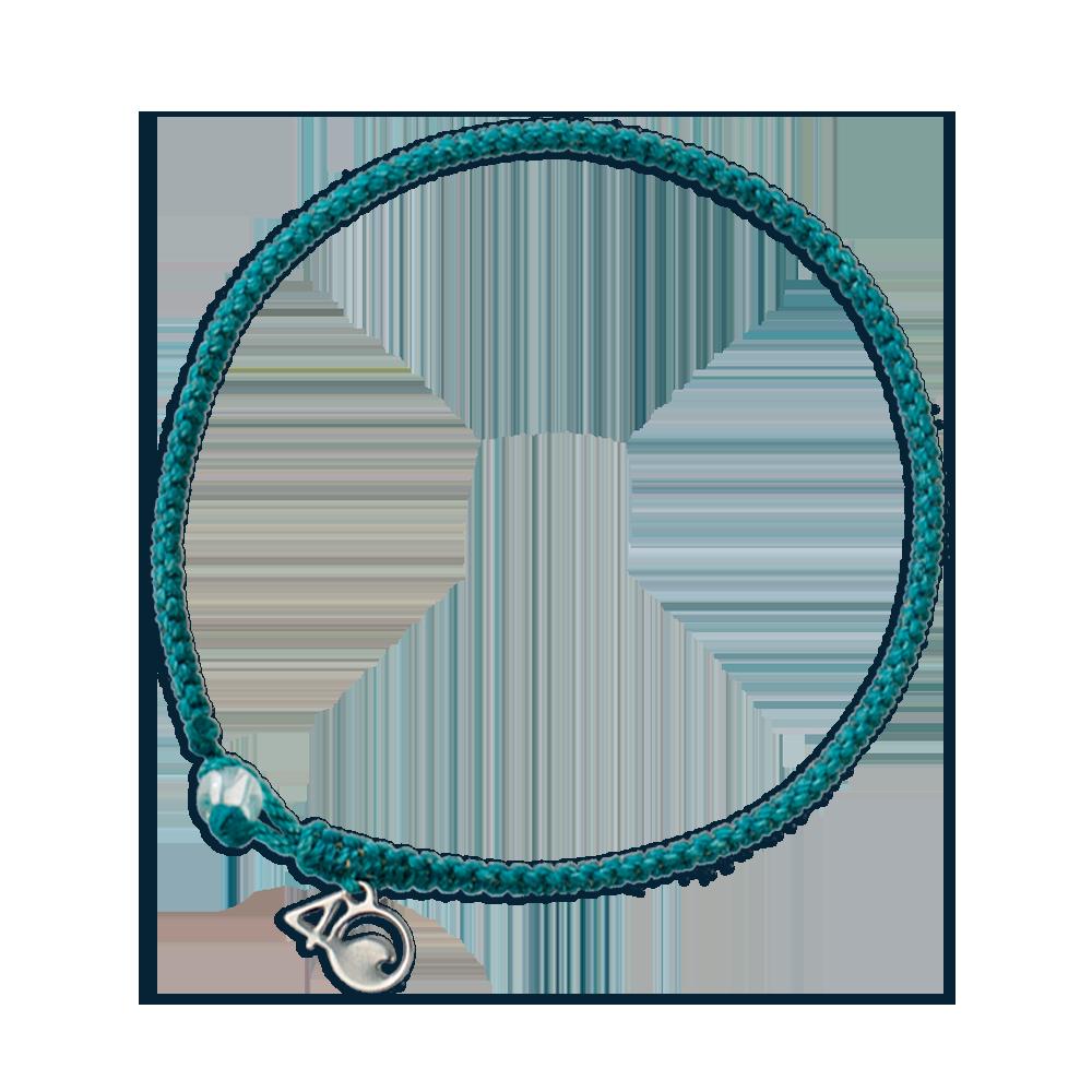 4Ocean Weissstreifen-Delfin Armband - geflochten