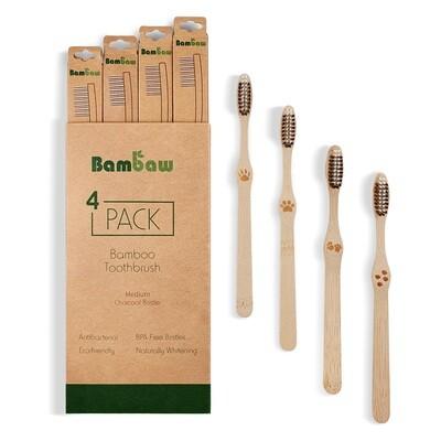 Biologische Zahnbürste aus Bambus Medium (4 Stk.)