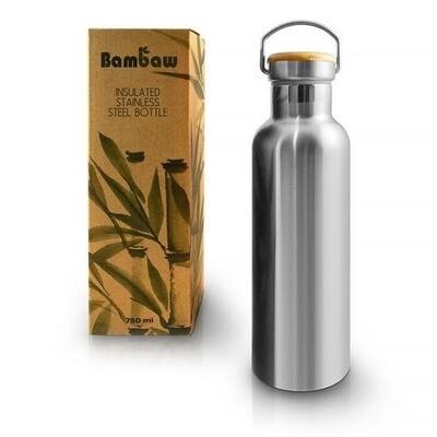 Isolierte Edelstahl Trinkflasche (750 ml) - ohne Plastik