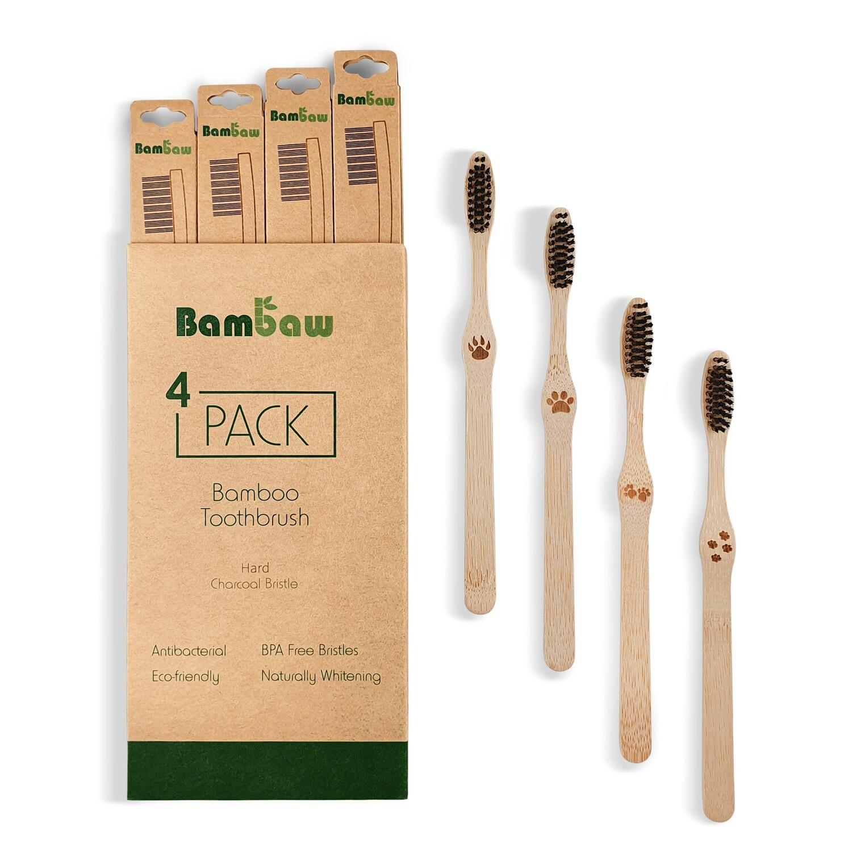 Biologische Zahnbürste aus Bambus Hart (4 Stk.)