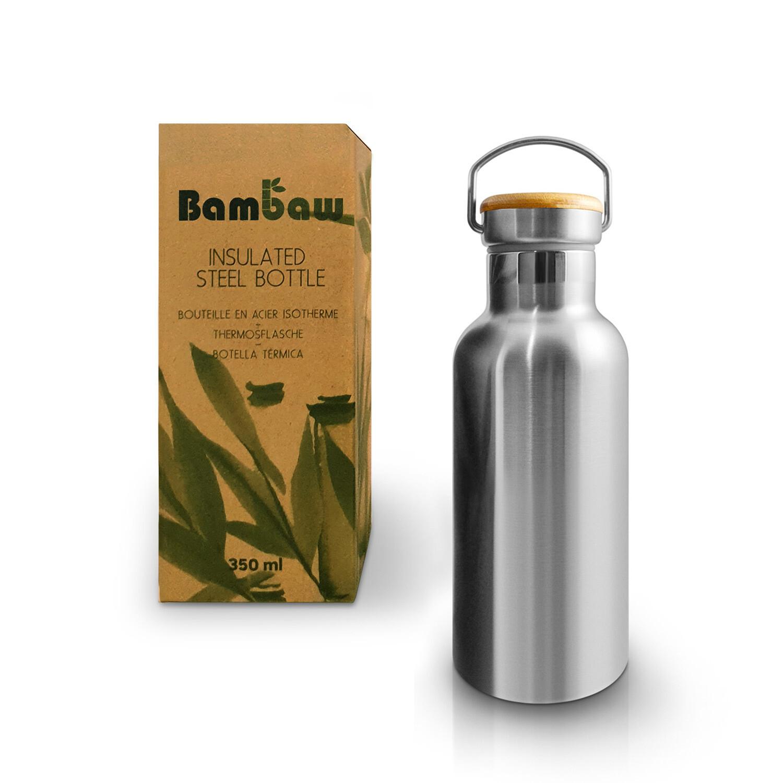 Isolierte Edelstahl Trinkflasche (350 ml) - ohne Plastik