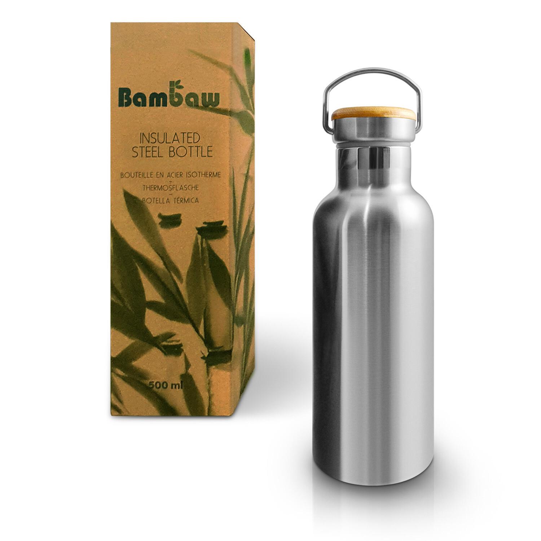 Isolierte Edelstahl Trinkflasche (500 ml) - ohne Plastik