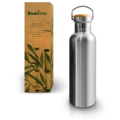 Isolierte Edelstahl Trinkflasche (1 Liter) - ohne Plastik