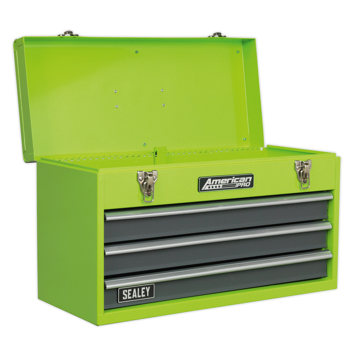 SEALEY Tool Chest 3 Drawer Portable Ball Bearing Slides Hi-Vis Green