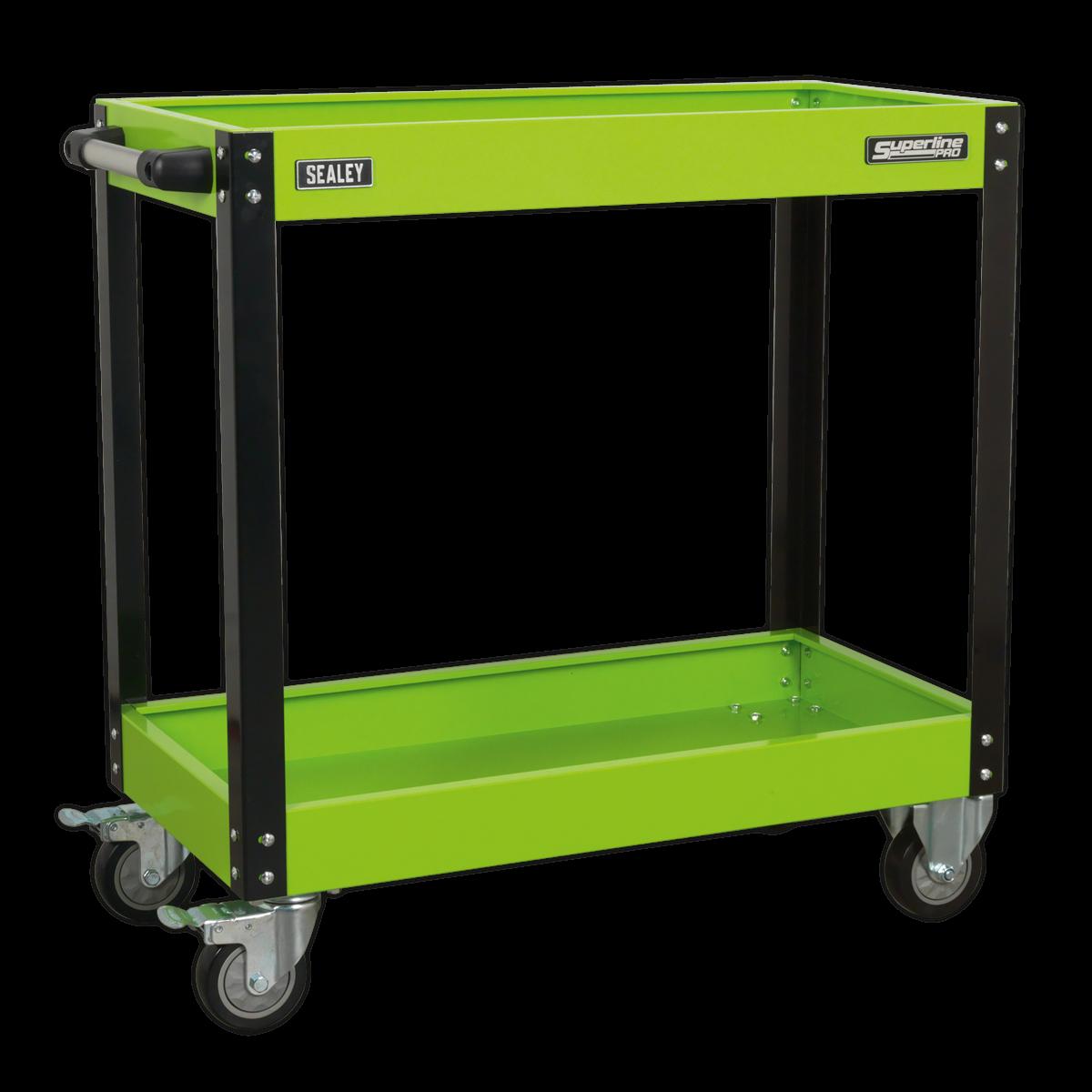 SEALEY Workshop Trolley 2 Level Heavy Duty Hi-Vis Green