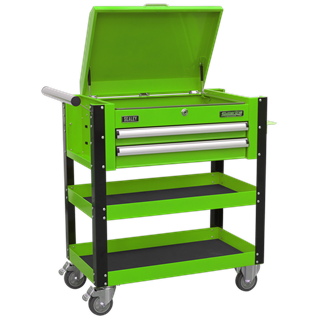 SEALEY 2 DRAWER HEAVY DUTY MOBILE TROLLEY WITH LOCKABLE TOP HI-VIS GREEN
