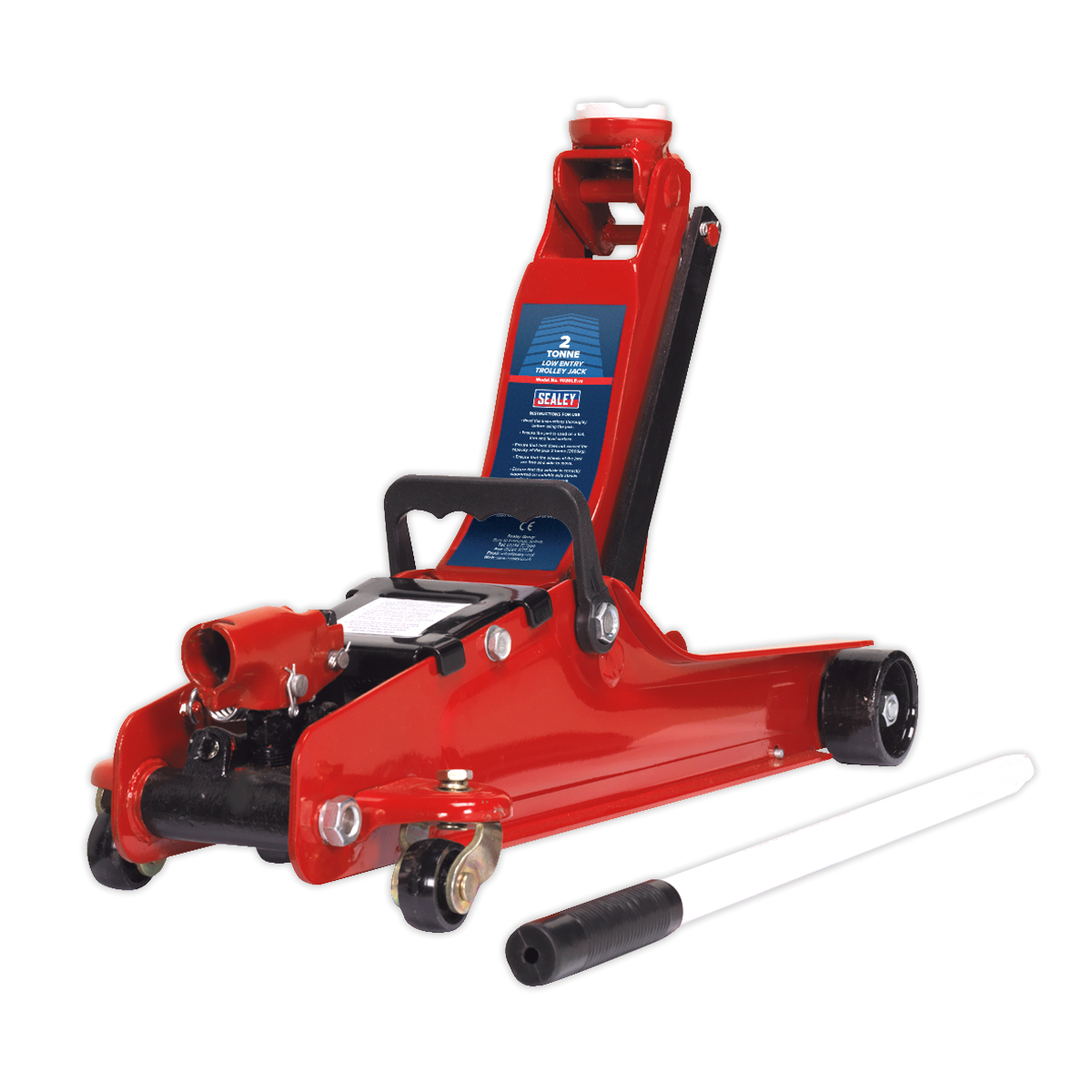 SEALEY TROLLEY JACK 2tonne LOW ENTRY SHORT CHASSIS - Hi-Vis Red