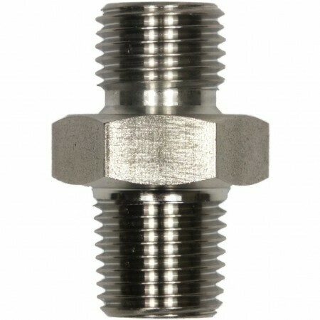 """Male to Male Plated Steel Double Adaptor - 1/4""""M to 1/4""""M"""