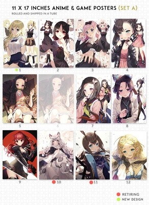 Anime & Game Posters Set A