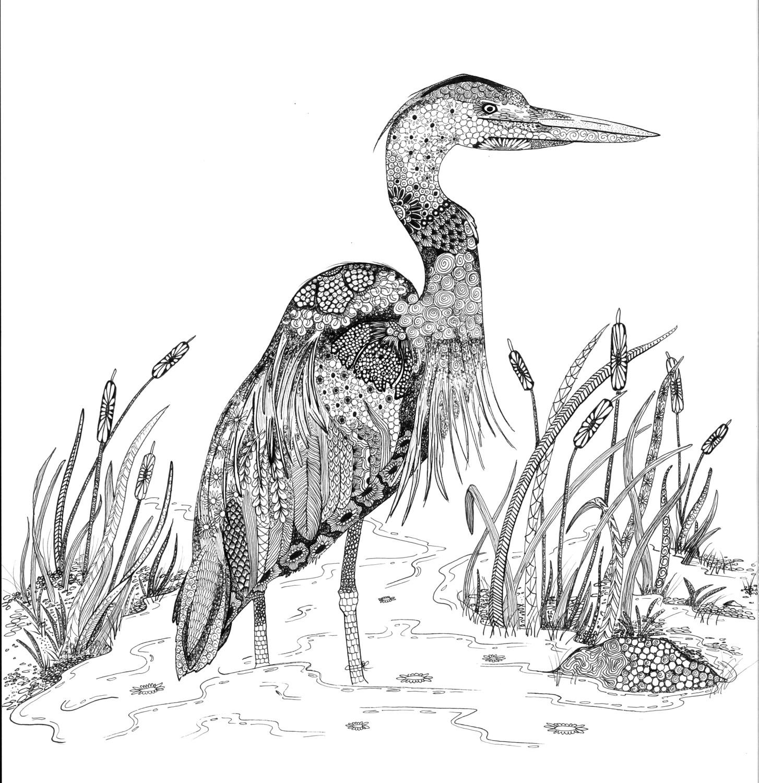 Zen Heron - Individual Large Notecards