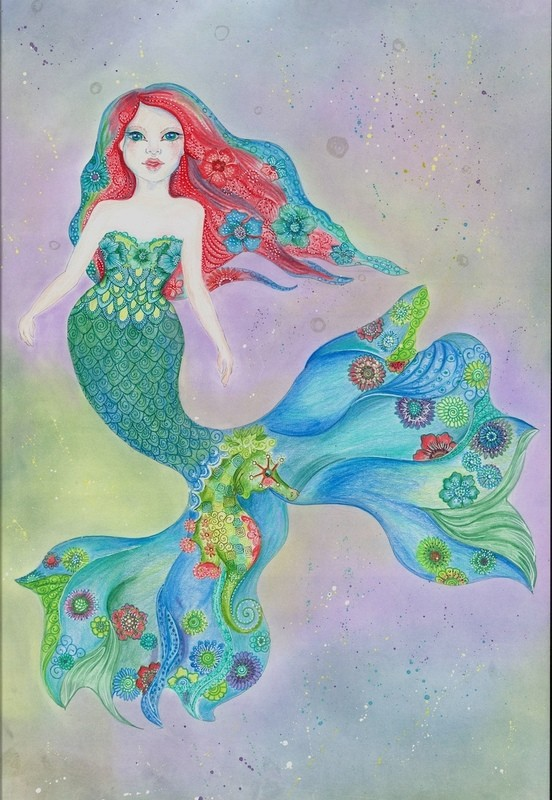 Mermaid 'Tessa' Notecard Individual Large Notecard