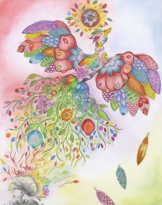 Rainbow Phoenix - Set of 4 Large Notecards