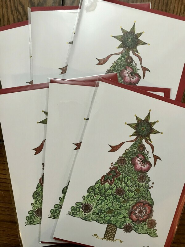 'Christmas Tree' 5x7 Notecards - Set of 6